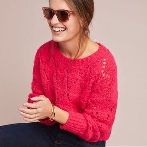BNWT Anthropologie Bright Lights Pink Sweater